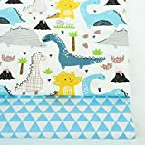 PXC 2Pcs Dinosaurios, Zorro Animales Tela de Sarga de algodón Estampada para bebé Patchwork Costura Acolchado Cuartos gordos Paquete de Tela de Bricolaje Infantil, 01 FA190036,100x160cm