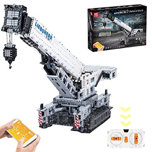 VIPO Technik Bausteine Raupenkran Modell für Liebherr 11200, 4000 Teile 2.4G Ferngesteuert Kran Groß Kranwagen Spielzeug Bausatz Kompatibel mit Lego Technic