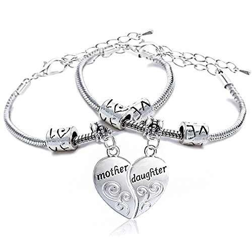 2pcs Mother Daughter Bracelets for Women Girl Jewellery Set Mother's Day Adjustable (Style A)