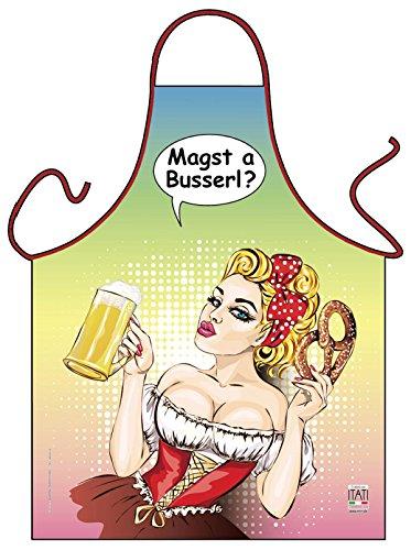 Geile-Fun-T-Shirts Grillschürze Magst a Busserl Bayer Comic Look Küchenschürze Schürze geil Bedruckt Geschenk Set mit Mini Flaschenschürze