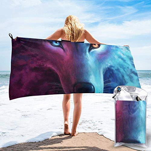 Ahdyr bath towel Pink and Blue Cool Wolf Moon Art Microfiber Sand Free Beach Towel Blanket-Quick Fast Dry Super Absorbent Lightweight Thin Towel