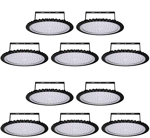 10 Pack 500W UFO LED High Bay Lights, 50000LM Daylight White 6000K-6500K Ultra Thin LED Warehouse Lighting, IP65 Waterproof Commercial Bay Lighting Shop Area Garage Gym Light Getseason (US Shipment)