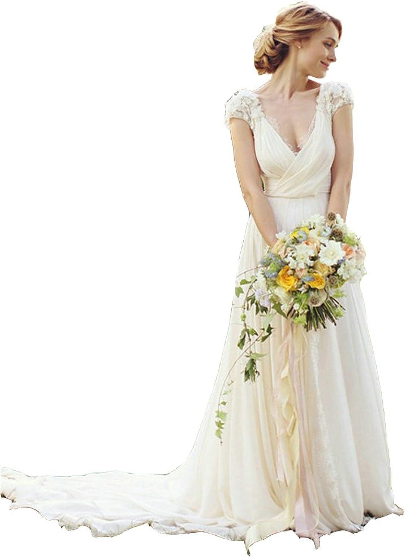 Irenwedding Women's V Neck Applique Capped Sheer Lace Back Beach Wedding Dress