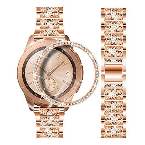 DEALELE Correa compatible con Samsung Gear Sport/Galaxy Watch 42 mm, 20 mm diamantes de imitación de acero inoxidable pulsera con bisel anillo cubierta, Rosegold