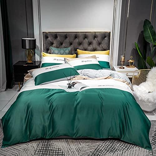 Funda De EdredóN Para Cama Individual,60 Ropa de cama de seda, bordado de algodón Minimalista AB Tianyila Conjunto de cuatro piezas, Color Matching Supplied Supplies Contraven-D_1,8 m de cama (4pcs)