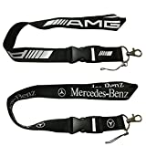 2pcs AMG and Mercedes-Benz Auto Lanyard Car Keychain Accessories Motorbike Superbike Lanyard with Webbing Strap Quick Release Buckle
