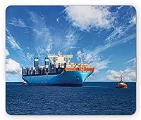 航海マウスパッド、晴れた日の取引商品画像で貨物船を港に運ぶのを助けるタグボート、長方形の滑り止めゴム製マウスパッド、標準サイズ、オーシャンブルー