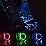 Ocamo 2パック ソーラーLEDライトカップホルダー 下部パッドマット インテリア装飾 すべての車用 レッド