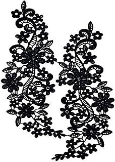 comprar comparacion Pixnor Par de bordado escote hueco Collar flor del cordón costura de apliques adorno negro