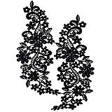 Pixnor Par de bordado escote hueco Collar flor del cordón costura de apliques...