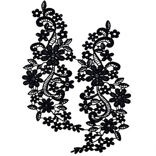 Pixnor Par de bordado escote hueco Collar flor del cordón costura de apliques adorno...