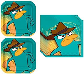 Phineas and Ferb Birthday Party Supplies Bundle for 16 includes 16 Plates and 16 Napkins