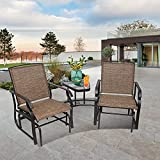 Outdoor Glider Bench&Chair, X&T 2 Person Patio Double Glider Rocker Chair with Metal Sliding Tracks, Patio Glider Swing Chair Loveseat with Sling Fabric and Center Table, for Porch Garden Lawn