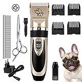 Forever Speed Cortapelos para mascotas, máquina de cortar pelo profesional silenciosa, recargable, cortapelos para mascotas con maquinilla de afeitar de cerámica para perros y gatos con 6 cabezales