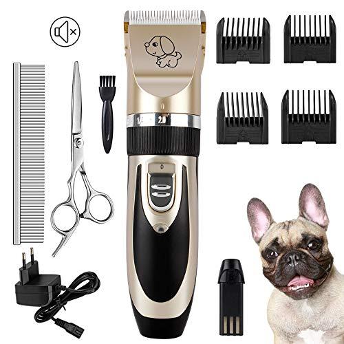 Forever Speed Djurhårklippningsmaskin tyst professionell hårklippningsmaskin uppladdningsbar trådlös trimmer husdjur med keramisk klippmaskin rakapparat för hund och katt med 6 tillbehör