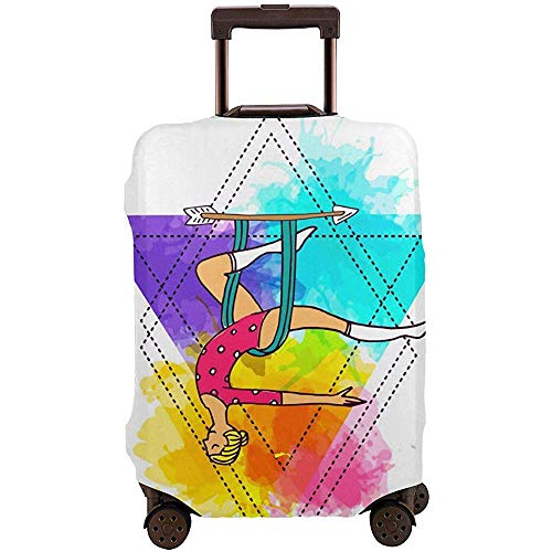 Cubierta de Equipaje de Viaje Cubierta de Maleta de Yoga aérea Colorida del Arco Iris Protector de Maleta de Equipaje Cubierta de Equipaje