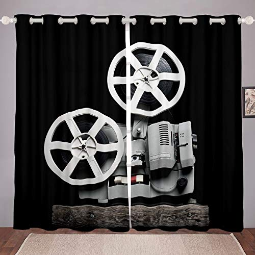 Loussiesd Cortinas de estilo steampunk con diseño de engranajes de reloj, cortinas mecánicas para ventana de dormitorio, sala de estar, decoración de habitación, 46 x 54