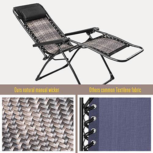SUNCROWN Rattan Zero Gravity Reclining Lounger with Cup Holder, Detachable Headrest, Adjustable Patio Lounge Chair for Outdoor, Beach, Porch, Swimming Pool, Lawn