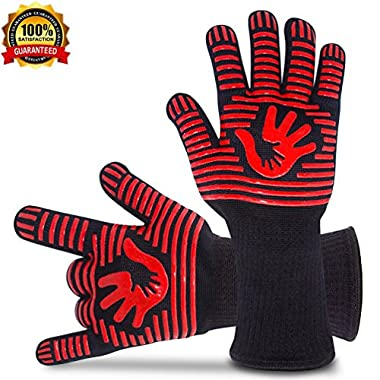 BBQ Gloves Grill Gloves Oven Gloves 932°F Extreme Heat Resistant Gloves EN407 Certified 1 Pair 14  Long For Extra Forearm Protection BBQ Kitchen Oven Mitts (Red)