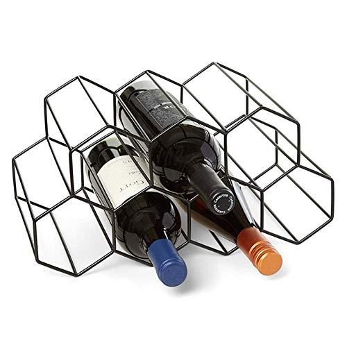 AKlamater Weinregal Metall, Freistehend Weinhalter Flaschenregal für Zuhause Tischflaschen Kneipe Weinkeller Weinaufbewahrung, 35x19x17.5cm (schwarz)