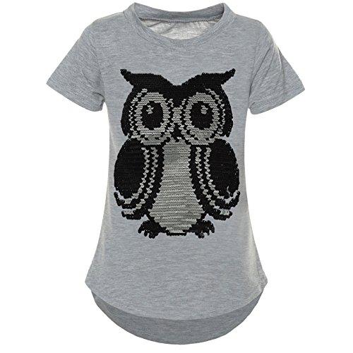 BEZLIT Mädchen Kurzarm T-Shirt Wende-Pailletten Motiv Glitzer Bluse 21286 Grau Größe 128