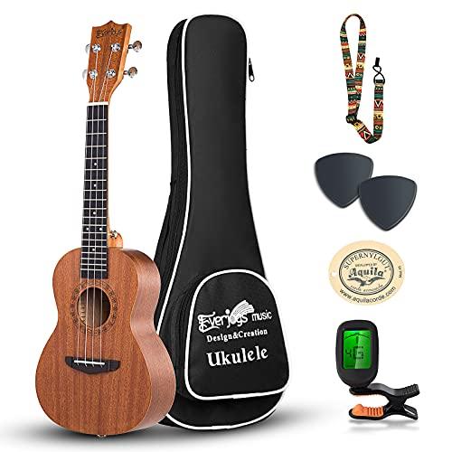 mahogany ukuleles Everjoys Concert Ukulele Mahogany - 23 inch Professional Wooden Ukelele Free Online Lesson Uke Strap Case Digital Tuner picks Aquila String