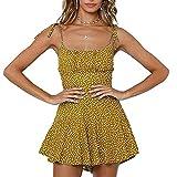 Liably Abito estivo da donna, con apertura sul retro, floreale, corto, per il tempo libero, linea ad A, sexy, elegante, a vita alta, alla moda, giallo., M