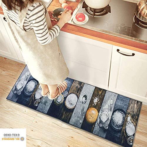 Siela Waschbar In Der Waschmaschine, Teppich, Teppichläufer, Brücke Für Küche, Flur, Küchenteppich Waschbar, Modern, Rutschfest Küchenläufer (Salzstreuer, 60 x 200 cm)