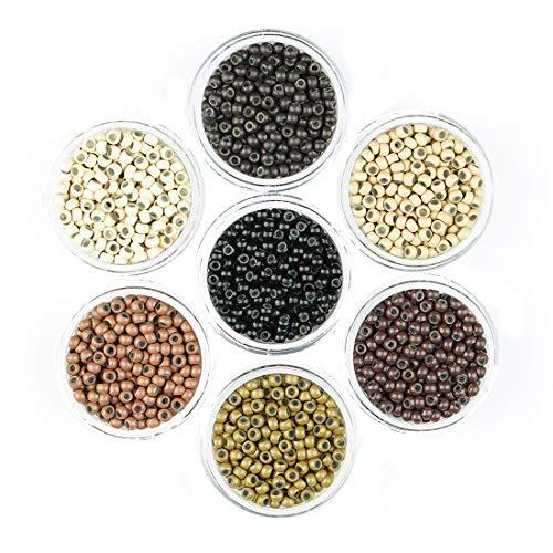 KOCONI 500 Pcs Nano Rings Silicone Lined 3mm Hair Extension Beads Micro Beads Silicone Lined Nano Beads Silicone Lined Nano Rings #5 Brown