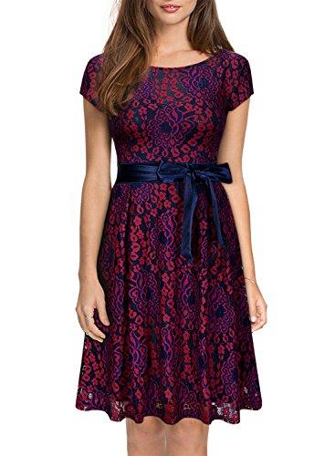 Miusol Kleid Elegant Hochzeit Brautjungfer Mini Spitzenkleider Abendkleider Rot - 4