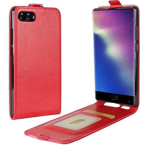 HualuBro Doogee Mix Hülle, [All Aro& Schutz] Premium PU Leder Leather Handy Tasche Schutzhülle Hülle Flip Cover mit Karten Slot für DOOGEE Mix 5.5 Inch 4G Smartphone (Rot)