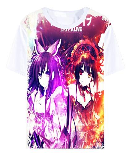 WANHONGYUE Japonais Anime Date A Live T-Shirt Cosplay Vêtements Été Manches Courtes Tee Top Chemises Blanc 2 XXL