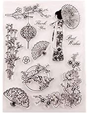 Cherry Blossoms Kimono Bamboo Fan Lantern Clear Rubber Stamps for Card Making Scrapbooking Christmas Craft Stamps Words Best Wishes Thank You