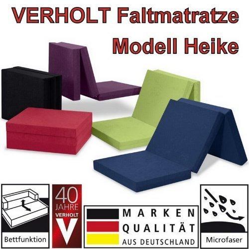 Klappmatratze Faltmatratze Verholt Heike blau - Made IN Germany - als Gästebett/Gästematratze/Klappbett einsetzbar