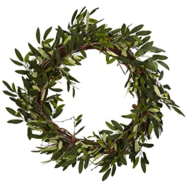 Nearly Natural 4773 Olive Wreath, 20-Inch, Green