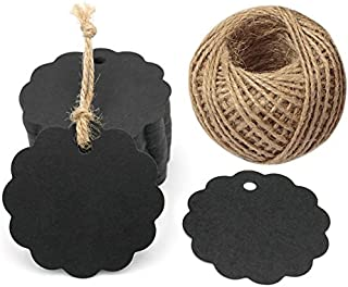 100PCS Black Craft Scalloped Paper Gift Tags with 100Feet Natural Jute Twines for Birthday Party, Wedding Decoration Gifts, Arts & Crafts