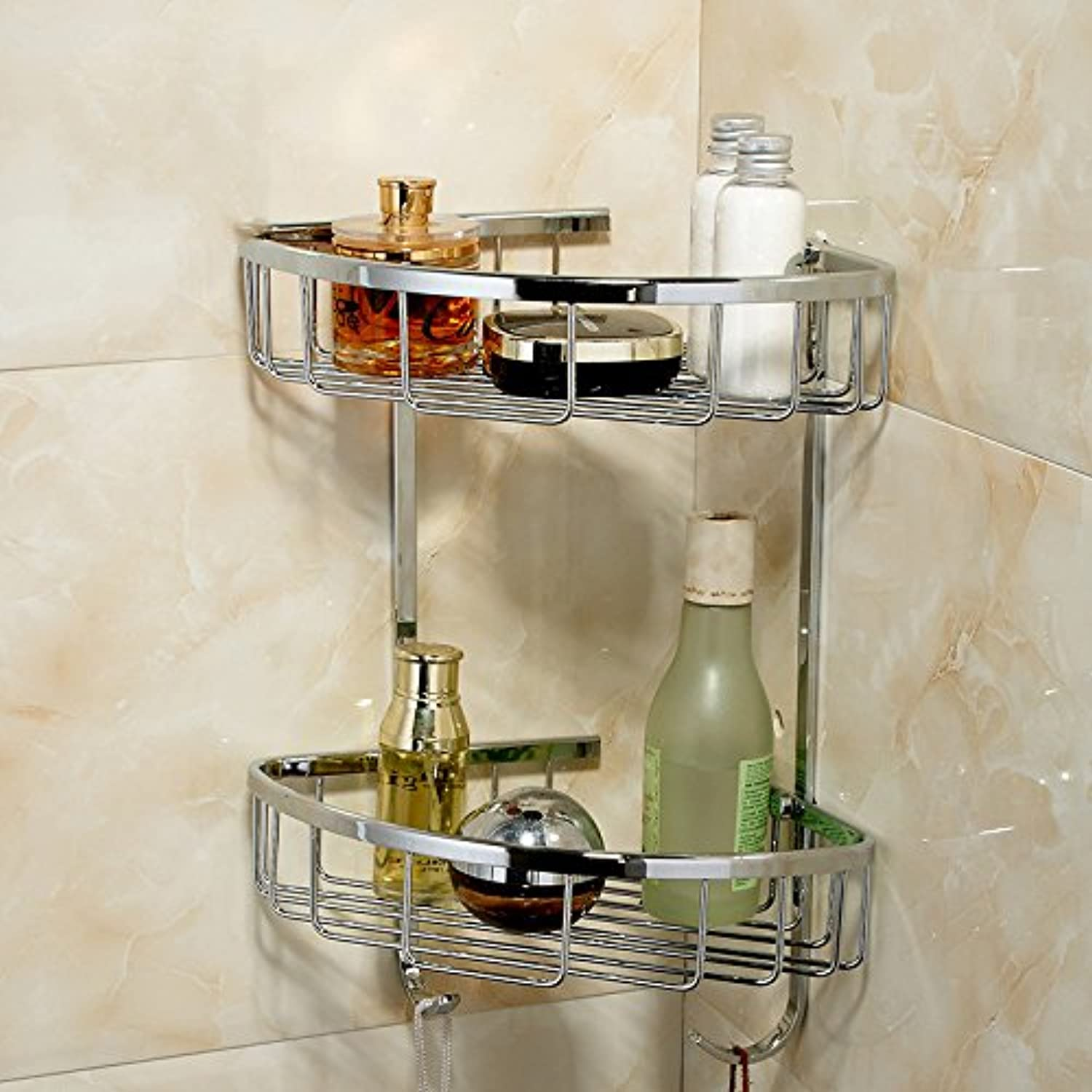 All Copper Chrome Simple Bathroom Triangle Basket Bathroom Corner Rack Wall Rack, Double Layer
