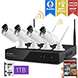 XMARTO Wireless Security Camera System Outdoor/ Indoor for Home,1080p Surveillance NVR System, 960p WiFi IP Cameras with 1024GB Hard Disk (Plug N Play, Built-in Router, Easy View on Mobile/PC/Mac)