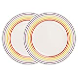 Bugatti 1109601 Large Rainbow Multicoloured Striped Edge Dinner Plates, 27 cm, Set of 2
