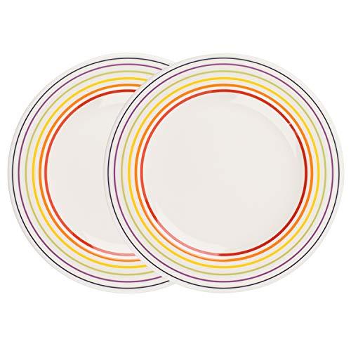 BUGATTI, Multi 1109601 Große Essteller aus Steingut mit farbenfrohen Kreise rund um den Tellerrand, 27 cm, 2er-Set