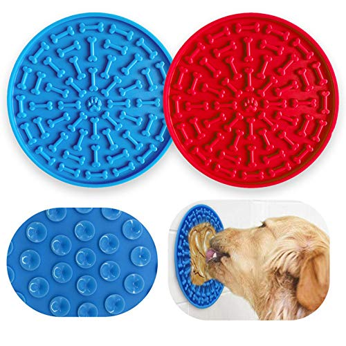 Leckmatte für Hunde,2 Stück Hund Lecken Pad Silikon Pet Lick Mat Slow Feeder Lick Pad,gegen Langeweile und Angst