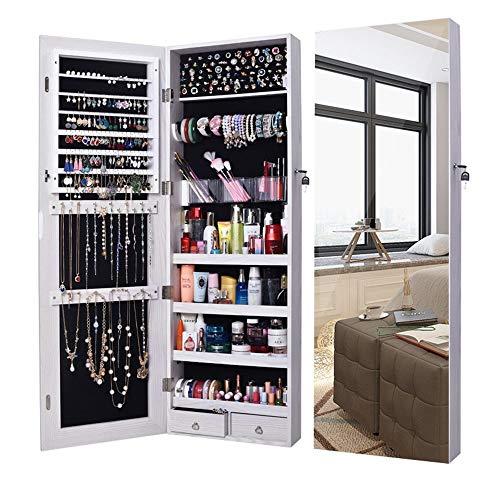 Gabinetto di gioielli Supporto per porta da parete che chiude l'armadio per il trucco degli armadi con specchio Per la conservazione dei gioielli ( Colore : Bianca , Dimensione : Taglia unica )