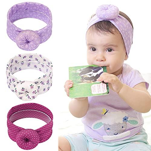 3 fasce per capelli da bambina, con fiocco e nodo, elastici antiscivolo, fascia per capelli per neonati, bambini e neonati