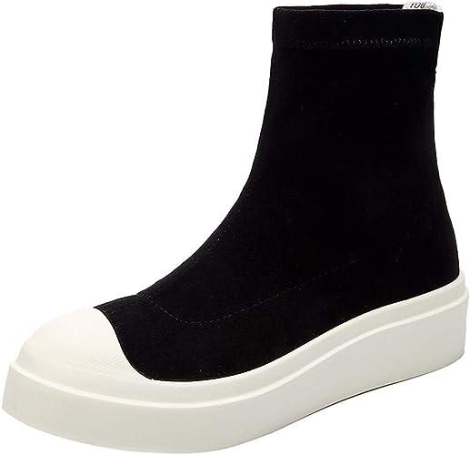 SFSYDDY Chaussures Populaires Les Chaussures sont La Marée Haute Haut Bas 3-5Cm Hip-Hop Chaussures Sport Loisir épais Chaussures Chaussettes Chaussures De Femmes.