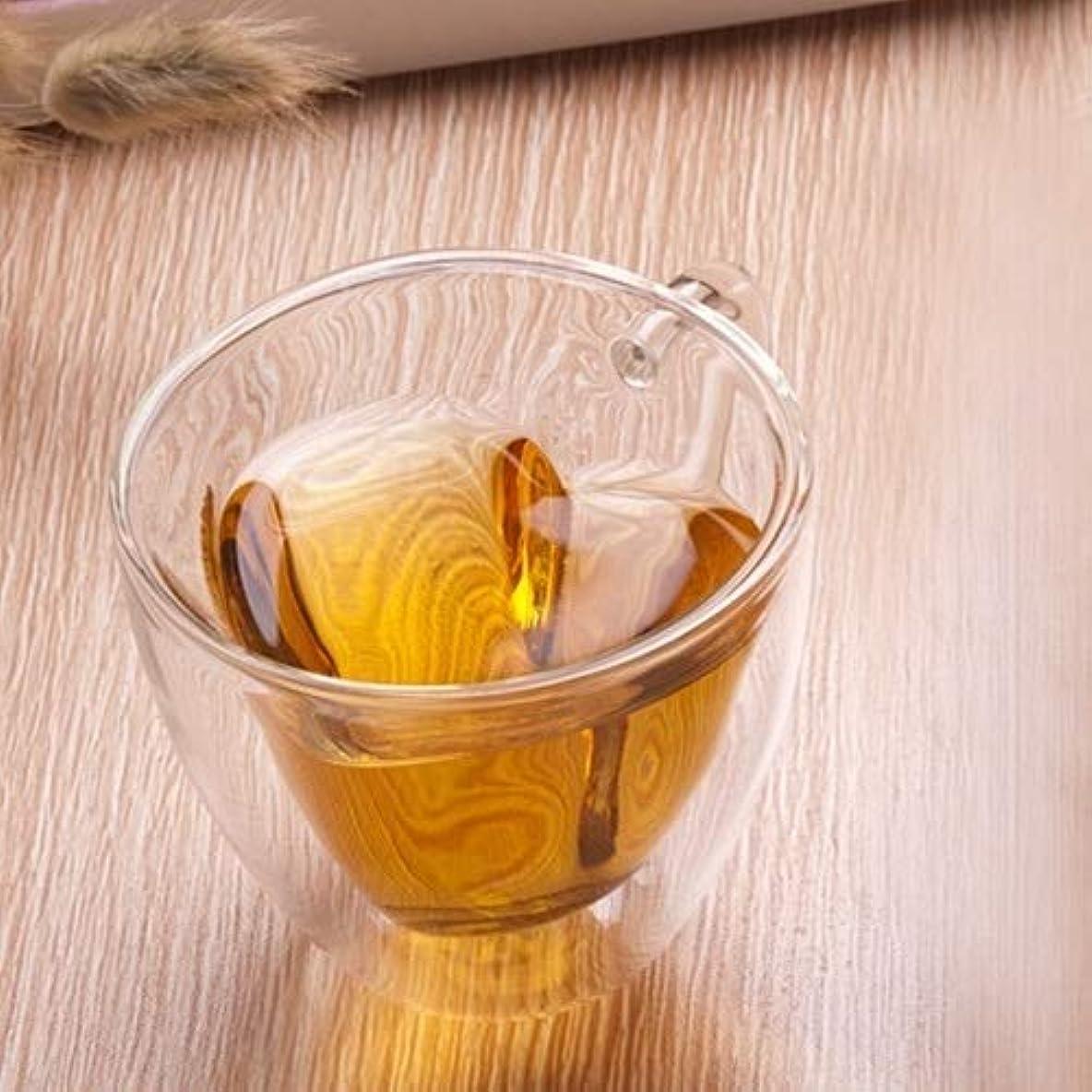 マニュアルローラー統治可能ホームカップ 2個のPCSハート型二重壁ガラスマグカップ耐性透明ティーカップ マグカップ?ティーカップ ( 色 : 180ml )