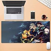 ゲーミングマウスマット、悪魔のスレイヤーのヤイバの主人公のチームの戦い、アニメの表面摩耗保護耐久性のある大規模なオフィスのマウスパッドをパーソナライズ (Color : 900mm*400mm, Size : 4mm)
