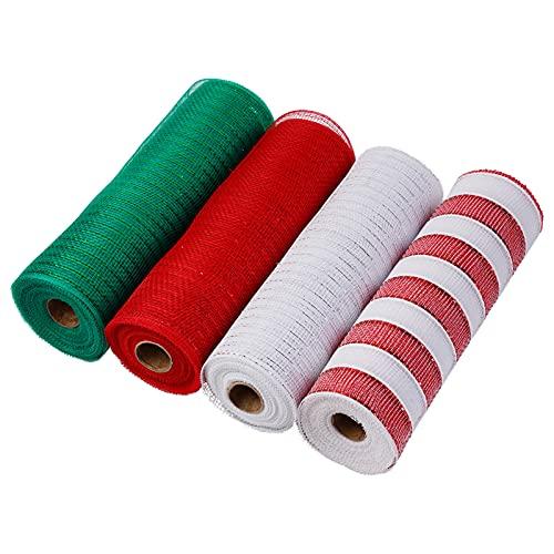 hatatit 4 rollos de cinta de malla de poliéster de 25,4 cm x 9 m cada rollo, cinta de papel metálico rojo, blanco y verde, cinta patriótica de Navidad para decoración de coronas