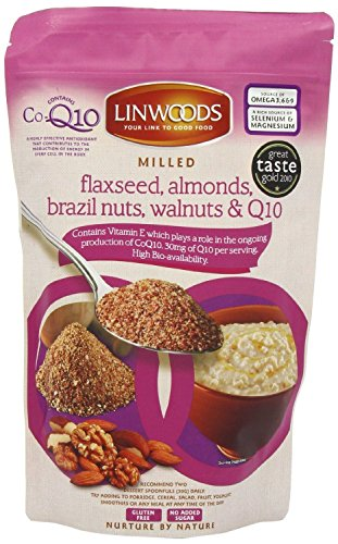 Linwoods Milled Flaxseed, Almonds, Brazil Nuts, Walnuts and Co-q10 360g (Pack of 4)