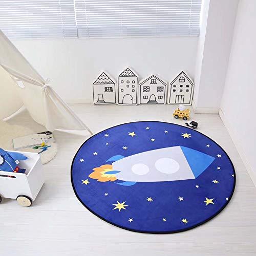 Homieco Tappeto da gioco per bambini rotondo in velluto di cristallo Simpatico cartone animato Tappeto per bambini domestico Tenda per Scuola materna Stanze Decorazione, 80cm/stelle