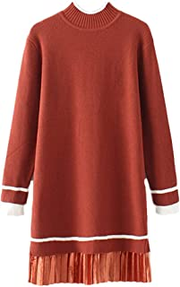 Women's Lace Patchwork Knit Dress Long Sleeve Sweater Pullovers